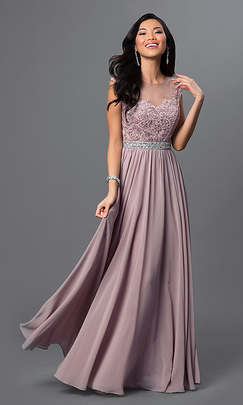 Image of long formal prom gown with cap sleeves. Style: DQ-21-9400 Detail Image 1