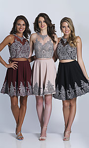 Image of black beaded two-piece short homecoming dress. Style: DJ-21-A5476 Front Image
