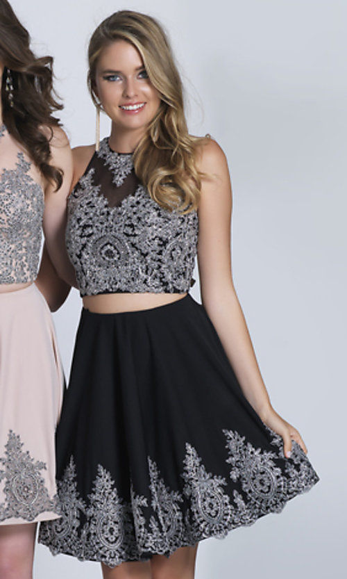 Image of black beaded two-piece short homecoming dress. Style: DJ-21-A5476 Detail Image 1