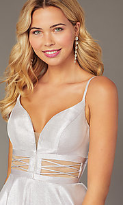 Image of Dave & Johnny short lilac purple homecoming dress. Style: DJ-21-A8454 Detail Image 2