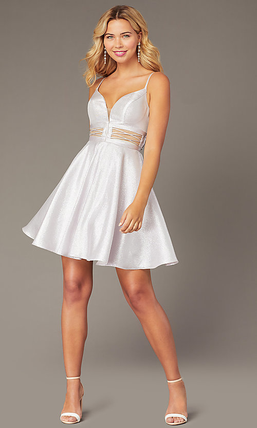 Image of Dave & Johnny short lilac purple homecoming dress. Style: DJ-21-A8454 Detail Image 1