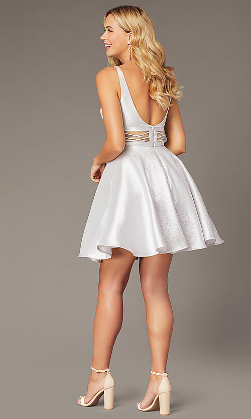 Image of Dave & Johnny short lilac purple homecoming dress. Style: DJ-21-A8454 Back Image