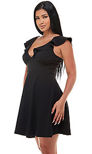 Image of cap-sleeve Jump short homecoming party dress. Style: JU-21-11816 Detail Image 1