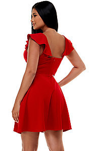 Image of cap-sleeve Jump short homecoming party dress. Style: JU-21-11816 Detail Image 3