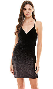 Image of short metallic pink and black Ombre hoco dress. Style: JU-21-11941 Front Image