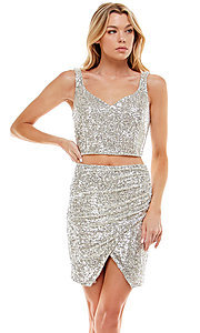 Image of short sequin two-piece hoco party dress by Jump. Style: JU-21-11986 Front Image