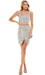 Image of short sequin two-piece hoco party dress by Jump. Style: JU-21-11986 Detail Image 1