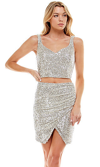 Short Sequin Two-Piece Hoco Party Dress by Jump