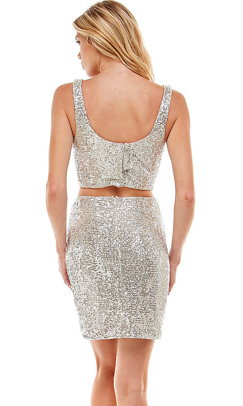 Image of short sequin two-piece hoco party dress by Jump. Style: JU-21-11986 Back Image
