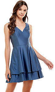 Image of tiered a-line short blue homecoming dress by Jump. Style: JU-21-11992 Front Image