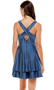 Image of tiered a-line short blue homecoming dress by Jump. Style: JU-21-11992 Back Image