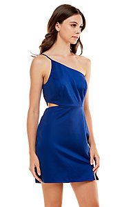 Image of Jump cut-out short royal blue homecoming dress. Style: JU-21-11993 Front Image
