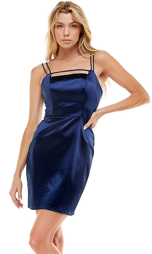 Image of navy blue short satin homecoming party dress. Style: JU-21-12179 Front Image