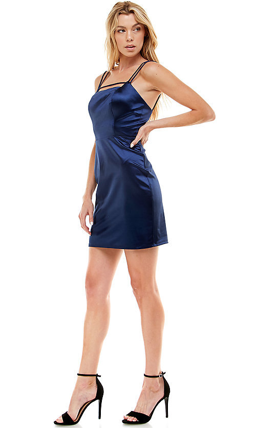 Image of navy blue short satin homecoming party dress. Style: JU-21-12179 Detail Image 1