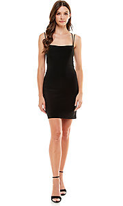 Image of Jump strappy open-back sexy short black hoco dress. Style: JU-21-12260 Detail Image 1