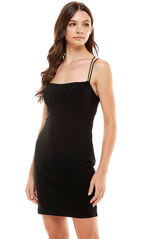 Image of Jump strappy open-back sexy short black hoco dress. Style: JU-21-12260 Front Image