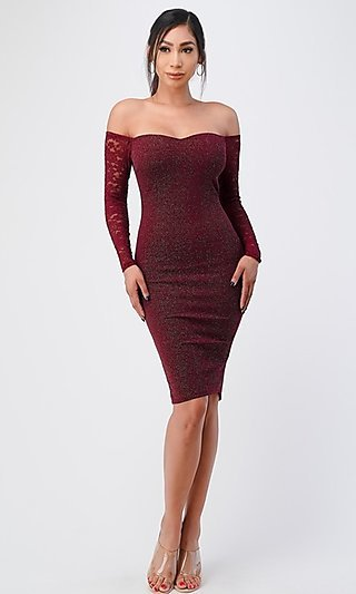Off-the-Shoulder Lace-Sleeve Fitted Glitter Dress