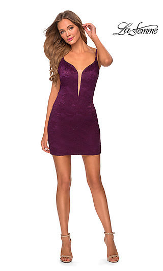 Backless Low V-Neck Short Lace Homecoming Dress
