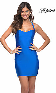 Image of La Femme short homecoming dress with strappy back. Style: LF-21-29306 Back Image