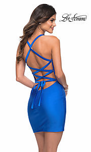 Image of La Femme short homecoming dress with strappy back. Style: LF-21-29306 Front Image