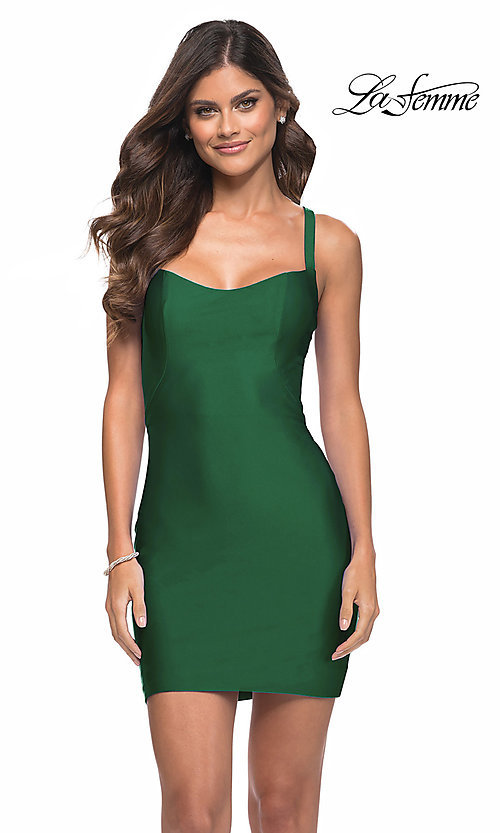 Image of La Femme short homecoming dress with strappy back. Style: LF-21-29306 Detail Image 1