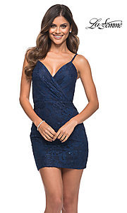 Image of beaded-lace short navy blue homecoming party dress. Style: LF-21-29309 Front Image