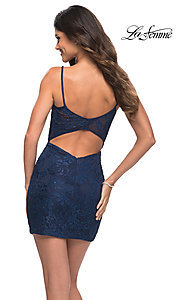 Image of beaded-lace short navy blue homecoming party dress. Style: LF-21-29309 Back Image