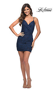 Image of beaded-lace short navy blue homecoming party dress. Style: LF-21-29309 Detail Image 1