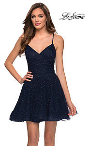 Image of short navy blue homecoming dress with rhinestones. Style: LF-21-29336 Front Image