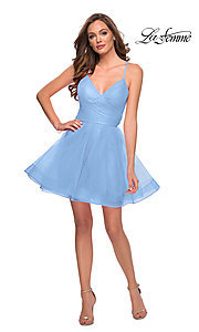 Image of La Femme short fit-and-flare homecoming dress. Style: LF-21-29364 Front Image