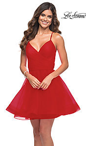 Image of La Femme short fit-and-flare homecoming dress. Style: LF-21-29364 Detail Image 1