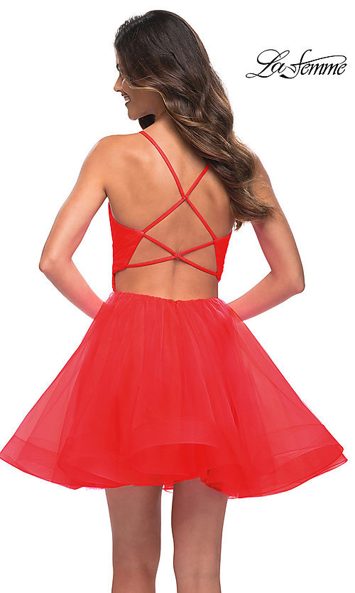 Image of La Femme short fit-and-flare homecoming dress. Style: LF-21-29364 Back Image