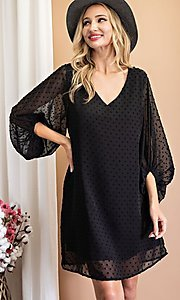 Image of long-sleeve short shift wedding-guest party dress. Style: LAS-EES-21-DK4514 Front Image