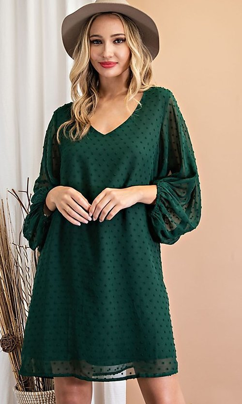 Image of long-sleeve short shift wedding-guest party dress. Style: LAS-EES-21-DK4514 Detail Image 1