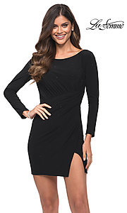 Image of long sleeve black backless short cocktail dress. Style: LF-21-30065 Front Image