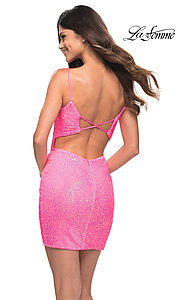Image of La Femme neon pink short sequin sexy party dress. Style: LF-21-30246 Back Image