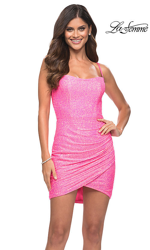 Image of La Femme neon pink short sequin sexy party dress. Style: LF-21-30246 Front Image