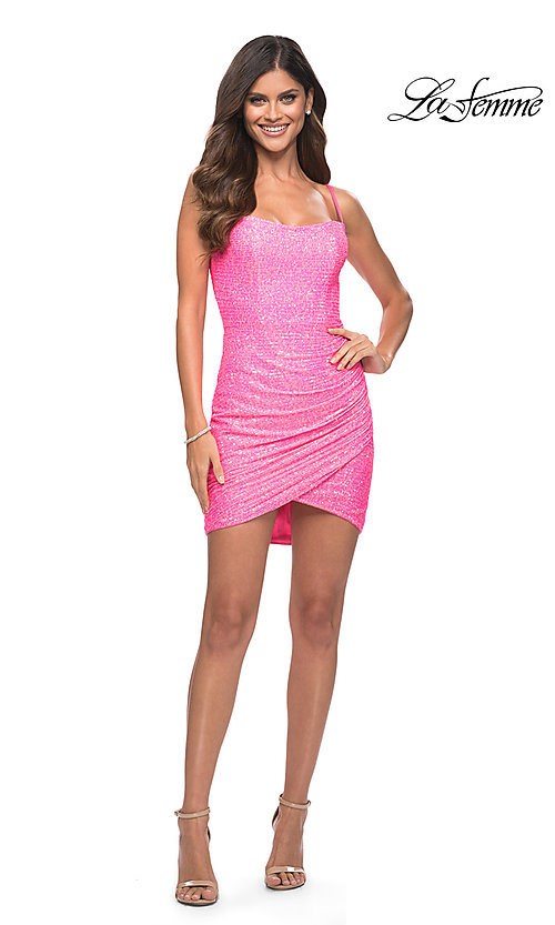 Image of La Femme neon pink short sequin sexy party dress. Style: LF-21-30246 Detail Image 1