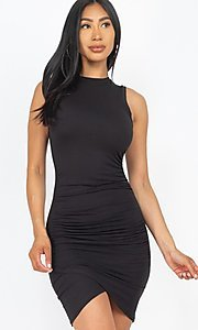 Image of short casual sexy ruched cocktail party dress. Style: LAS-CAP-21-BD2523 Front Image