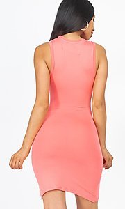 Image of short casual sexy ruched cocktail party dress. Style: LAS-CAP-21-BD2523 Back Image