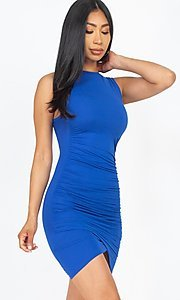 Image of short casual sexy ruched cocktail party dress. Style: LAS-CAP-21-BD2523 Detail Image 7
