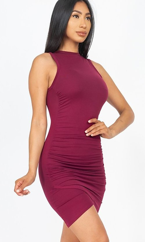 Image of short casual sexy ruched cocktail party dress. Style: LAS-CAP-21-BD2523 Detail Image 2