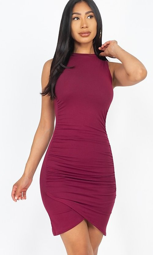 Image of short casual sexy ruched cocktail party dress. Style: LAS-CAP-21-BD2523 Detail Image 3