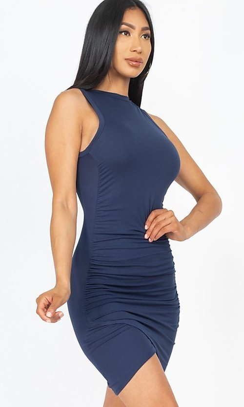 Image of short casual sexy ruched cocktail party dress. Style: LAS-CAP-21-BD2523 Detail Image 4