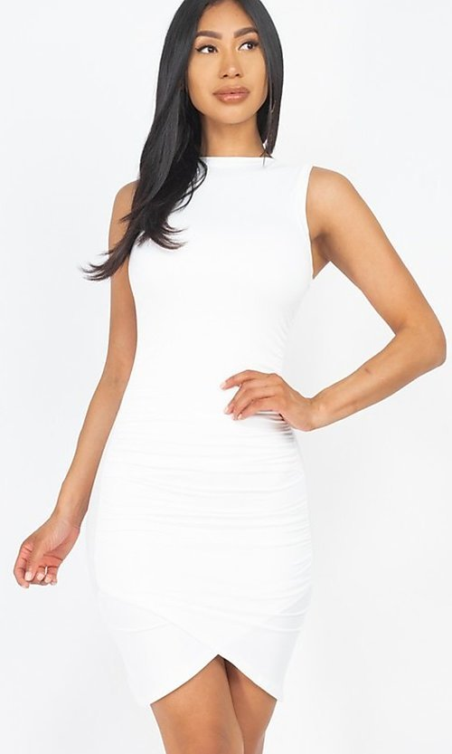 Image of short casual sexy ruched cocktail party dress. Style: LAS-CAP-21-BD2523 Detail Image 6