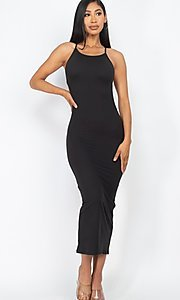 Image of back-tie sexy casual midi cocktail dress. Style: LAS-CAP-21-BD3218 Detail Image 2