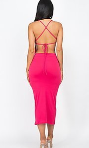 Image of back-tie sexy casual midi cocktail dress. Style: LAS-CAP-21-BD3218 Detail Image 4