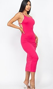 Image of back-tie sexy casual midi cocktail dress. Style: LAS-CAP-21-BD3218 Detail Image 5