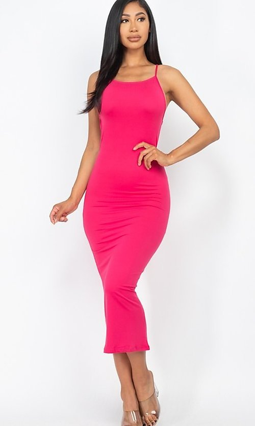 Image of back-tie sexy casual midi cocktail dress. Style: LAS-CAP-21-BD3218 Detail Image 3