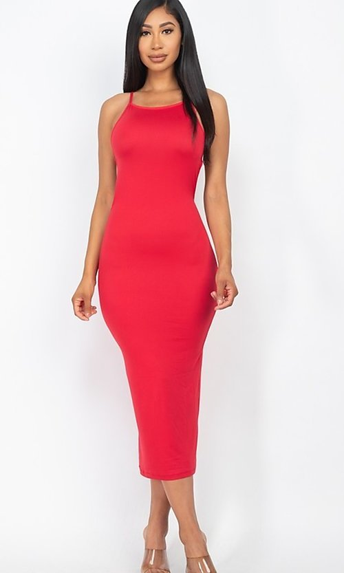 Image of back-tie sexy casual midi cocktail dress. Style: LAS-CAP-21-BD3218 Back Image